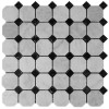 Italian White Carrera Marble Bianco Carrara Octagon Mosaic Tile Polished