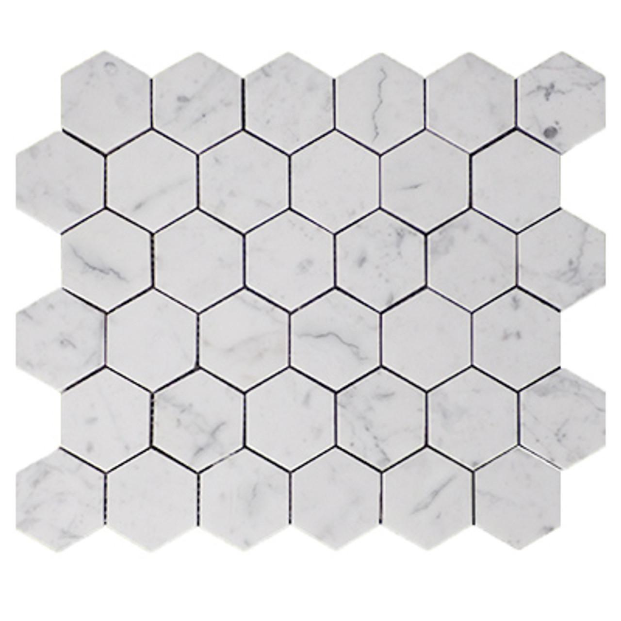 Carrara Marble Italian White Bianco Carrera 2 Hexagon Mosaic Tile Honed