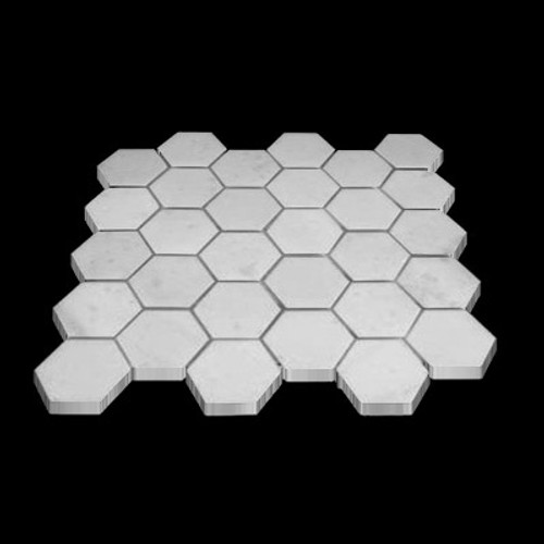 "Statuary Crystal Marble Italian White Statuario 2"" Hexagon Mosaic Tile Polished"