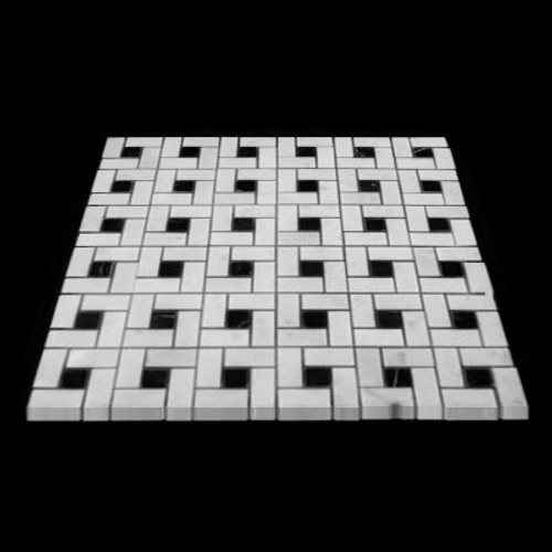 Statuary Crystal Marble Italian White Statuario Target Pinwheel Pattern Marble Mosaic Tile with Nero Marquina Black Dots Polished