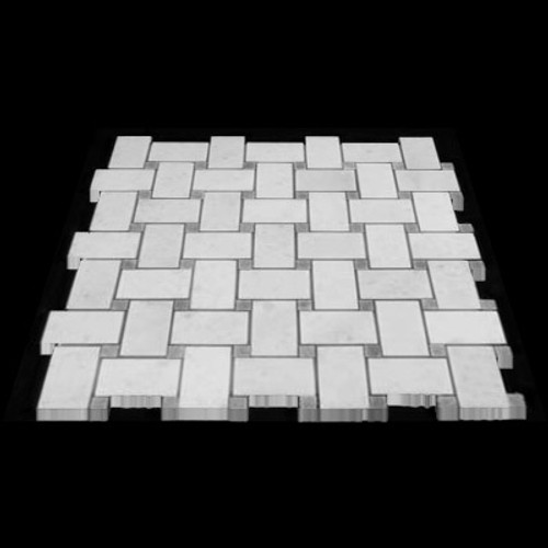 Statuary Crystal Marble Italian White Statuario Basketweave Mosaic Tile with Bardiglio Gray Dots Honed