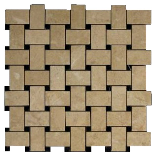 Crema Marfil Marble Basketweave Mosaic Tile with Nero Marquina Black Dots Polished
