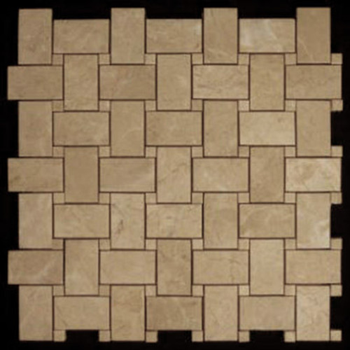 Crema Marfil Marble Basketweave Mosaic Tile with Crema Marfil Dots Polished