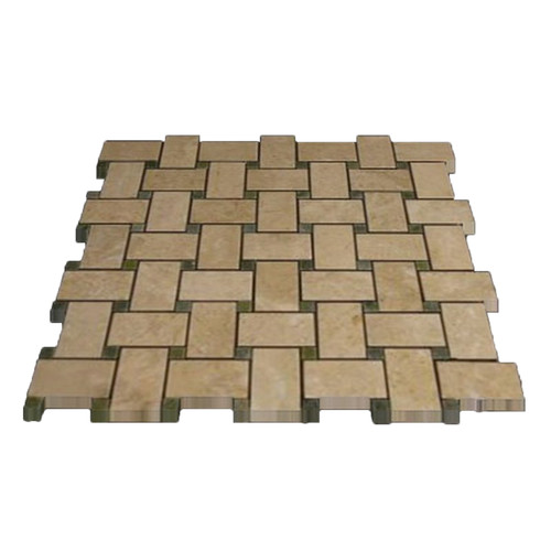Crema Marfil Marble Basketweave Mosaic Tile with Green Dots Polished