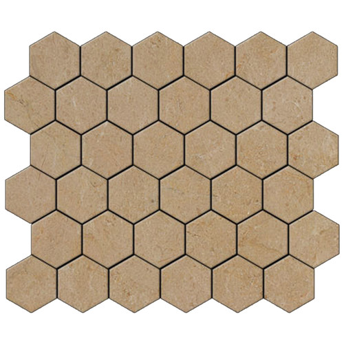 "Crema Marfil Marble 2"" Hexagon Mosaic Tile Polished"