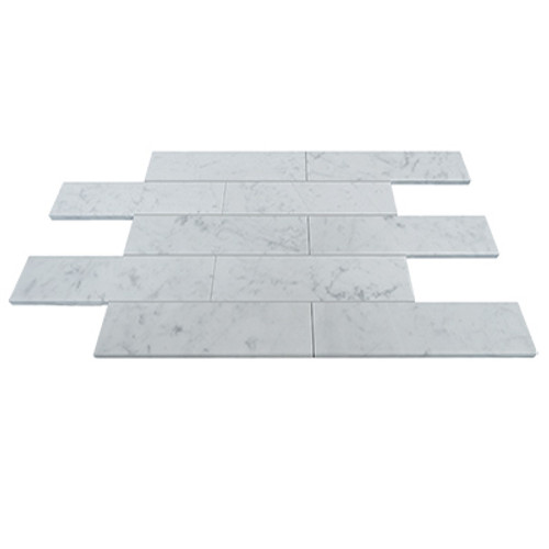 Italian White Carrera Marble Bianco Carrara 4x12 Marble Tile Polished