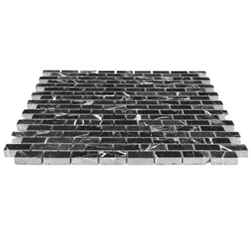 Nero Marquina Black Marble Mini Brick Mosaic Tile Polished