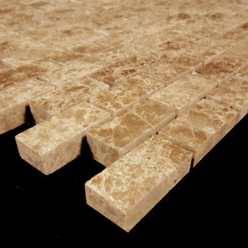 Light Emperador Marble Mini Brick Mosaic Tile Polished
