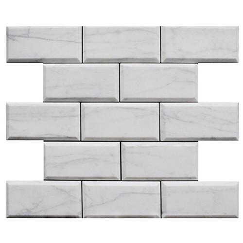 Italian White Carrera Marble Bianco Carrara 3x6 Marble Subway Tile Beveled Honed