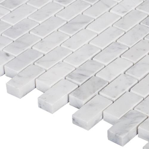 Italian White Carrera Marble Bianco Carrara Mini Brick Mosaic Tile Honed