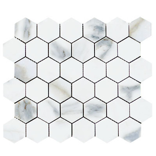 "Calacatta Gold Italian Marble 2"" Hexagon Mosaic Tile Honed"