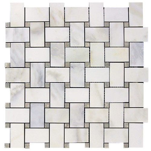 Calacatta Gold Italian Marble Basketweave Mosaic Tile with Pistachio Green Dots Polished