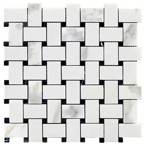 Calacatta Gold Italian Marble Basketweave Mosaic Tile with Black Dots Honed