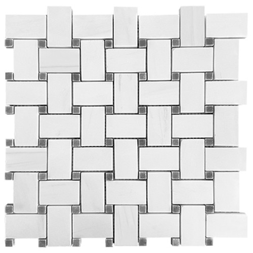 Dolomiti White Marble Italian Bianco Dolomite Basketweave Mosaic Tile with Bardiglio Gray Dots Polished