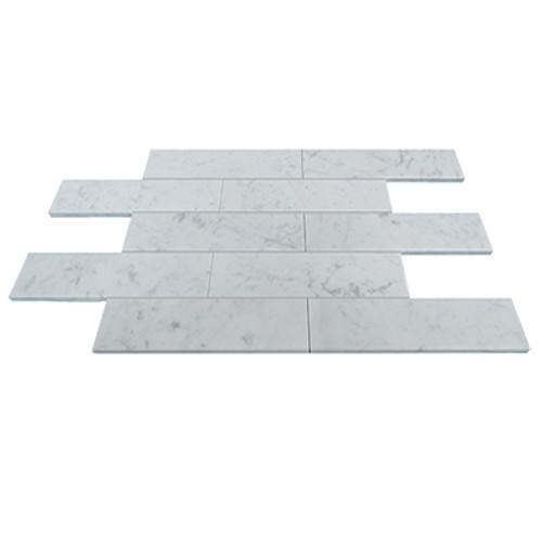 Carrara Marble Italian White Bianco Carrera 6x18 Marble Tile Polished