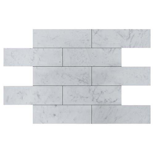 Carrara Marble Italian White Bianco Carrera 6x18 Marble Tile Honed