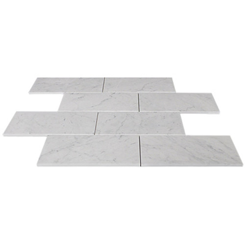 Carrara Marble Italian White Bianco Carrera 9x18 Marble Tile Polished