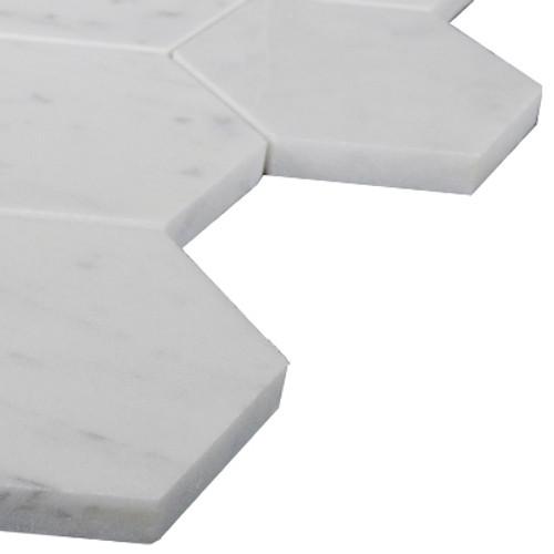 "Italian White Carrera Marble Bianco Carrara 3"" Hexagon Mosaic Tile Polished"
