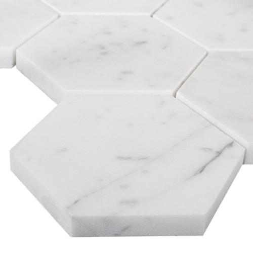"Italian White Carrera Marble Bianco Carrara 3"" Hexagon Mosaic Tile Honed"