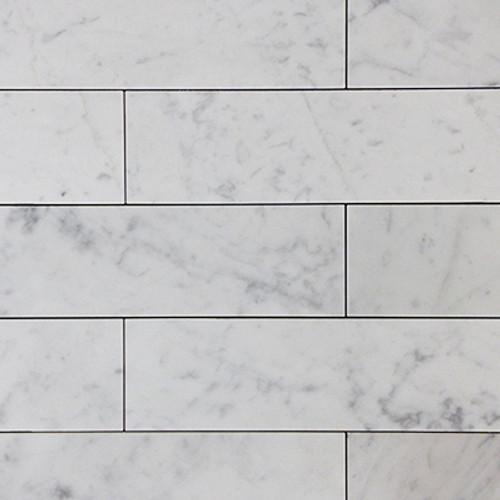 Carrara Marble Italian White Bianco Carrera 3x12 Marble Tile Polished