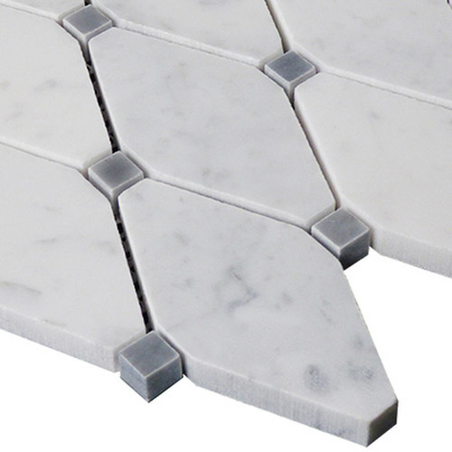 White Carrara Long Octagon Mosaic Tile with Bardiglio Gray Dots Honed