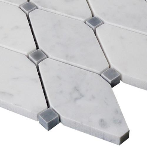 White Carrara Carrara Marble Long Octagon Mosaic Tile with Bardiglio Gray Dots Polished