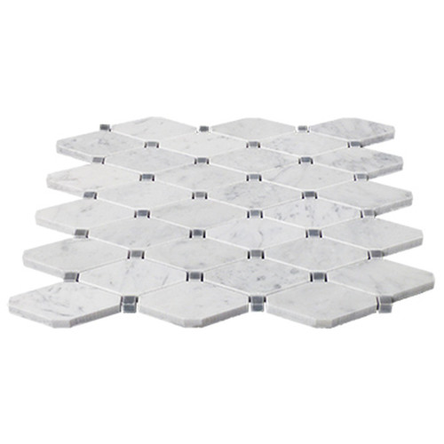 Bianco Carrara Marble Long Octagon Mosaic Tile with Bardiglio Gray Dots Polished