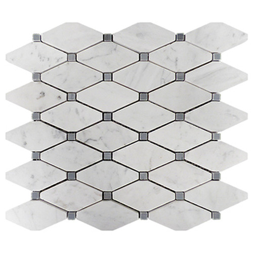 Carrara Marble Long Octagon Mosaic Tile with Bardiglio Gray Dots Polished