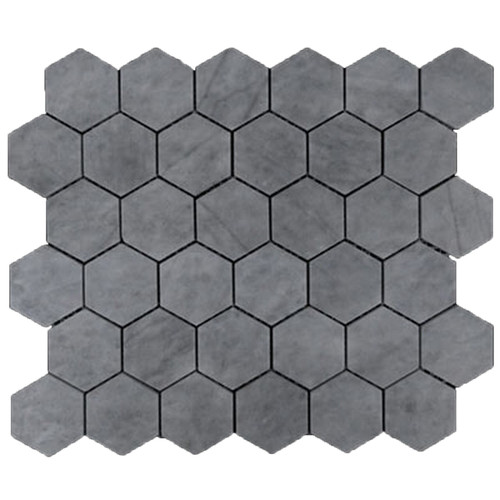 "Bardiglio Gray Marble 2"" Hexagon Mosaic Tile Honed"