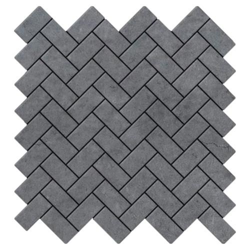Bardiglio Gray Marble Herringbone Mosaic Tile Honed