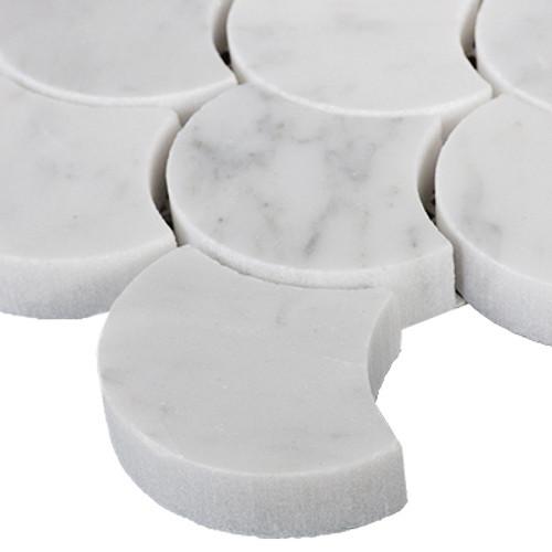Carrara Marble Italian White Bianco Carrera Fish Scale Fan Shaped Mosaic Tile Honed