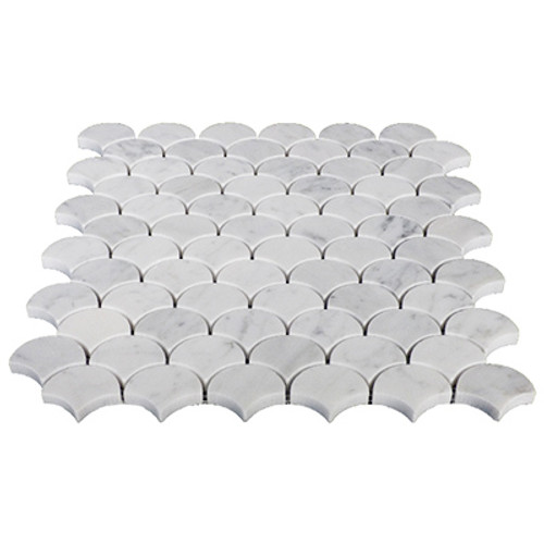 Carrara Marble Italian White Bianco Carrera Fish Scale Seashell Fan Shaped Mosaic Tile Polished