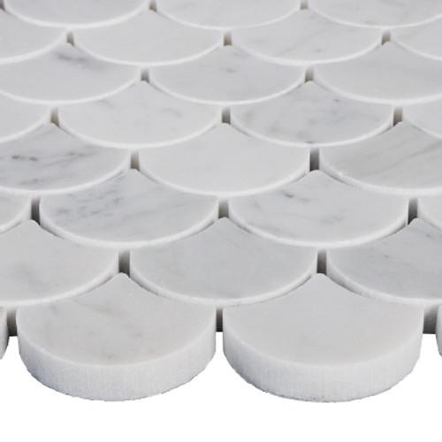 Carrara Marble Italian White Bianco Carrera Fish Scale Seashell Fan Shaped Mosaic Tile Polished