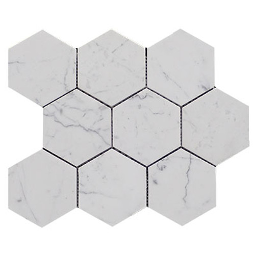 Italian Carrara White Marble 4��������������������������� Hexagon Mosaic Tile Honed