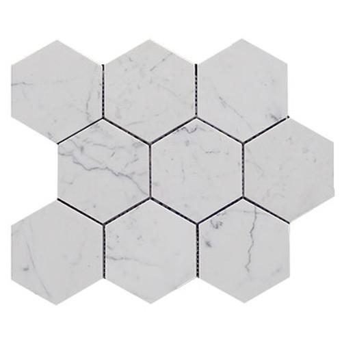 Italian Carrara White Marble 4��������������������������������������������������������������������������������������������������������������������������������������������������������������������������������������������������������������������������������������������������� Hexagon Mosaic Tile Honed