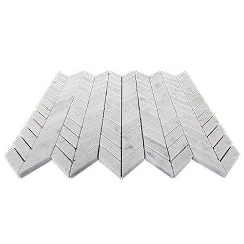 Carrara White Italian Marble Mini Chevron Mosaic Tile Honed