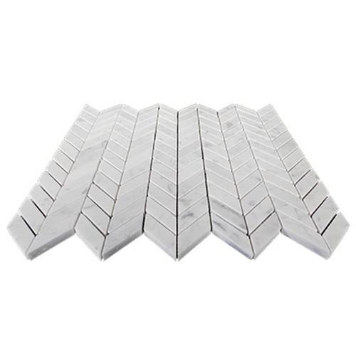 Carrara White Italian Marble Mini Chevron Mosaic Tile Honed