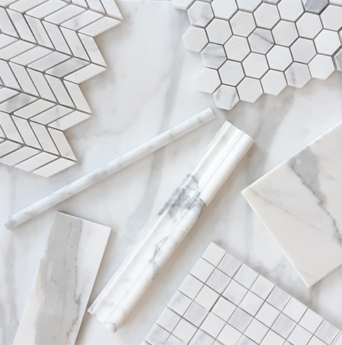 Calacatta Gold Marble Mini Chevron Mosaic Tile Honed