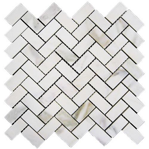 Calacatta Gold Italian Marble Herringbone Mosaic Tile Honed