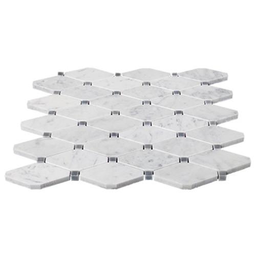 Italian White Carrera Marble Bianco Carrara Rhomboid Long Octagon Mosaic Tile with Bardiglio Gray Dots Polished