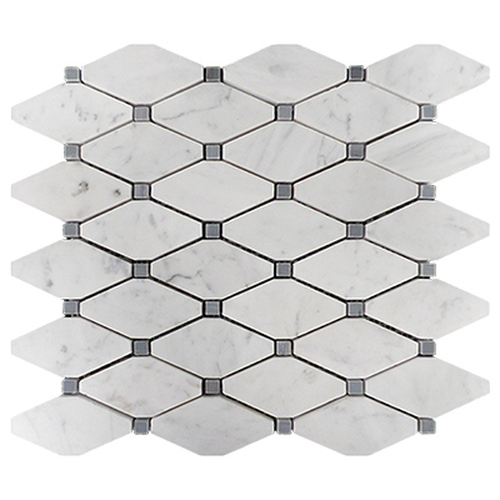 Italian White Carrera Marble Bianco Carrara Rhomboid Mosaic Long Octagon Tile with Bardiglio Gray Dots Honed