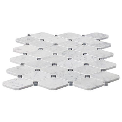 Italian White Carrera Marble Bianco Carrara Rhomboid Mosaic Long Octagon Tile with Bardiglio Gray Dots Honed