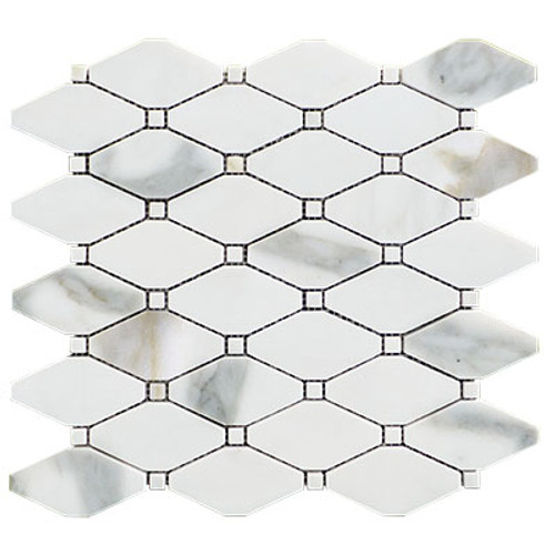 Calacatta Gold Long Octagon Rhomboid Mosaic Tile with Calacatta Dots Honed
