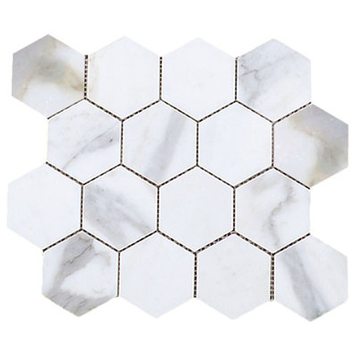 "Calacatta Gold Italian Marble 3"" Hexagon Mosaic Tile Honed"