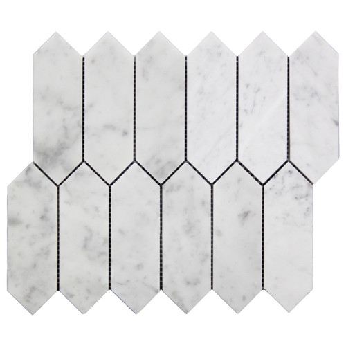 White Carrara Picket Mosaic Tile Polished