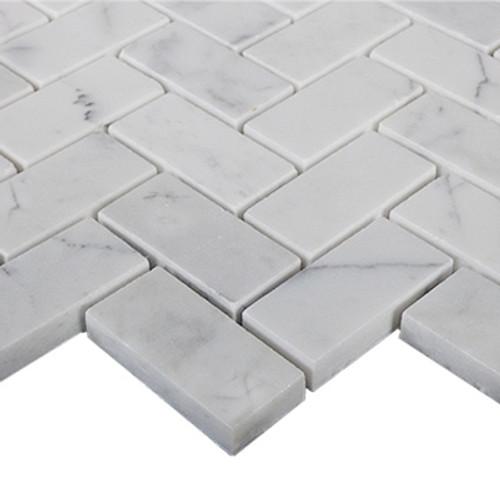"""Italian White Carrera Marble Bianco Carrara 1""""x2"""" Herringbone Mosaic Tile Polished"""