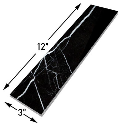 Nero Marquina Black Marble 3x12 Marble Tile Polished