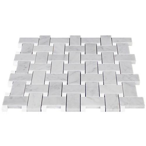 White Carrara Basketweave Mosaic with Carrara Dots Honed