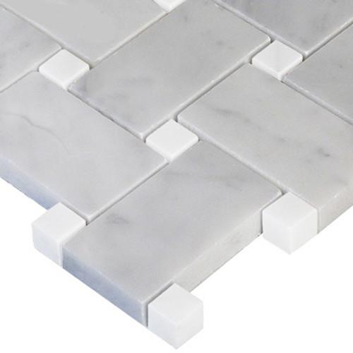 White Bianco Carrara Basketweave Mosaic with Carrara Dots Honed