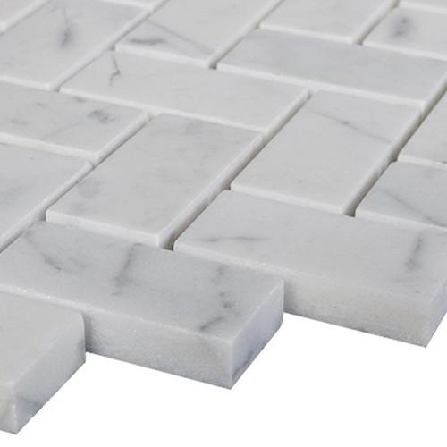 Carrara Marble Italian White Bianco Carrera Herringbone Mosaic Tile Honed